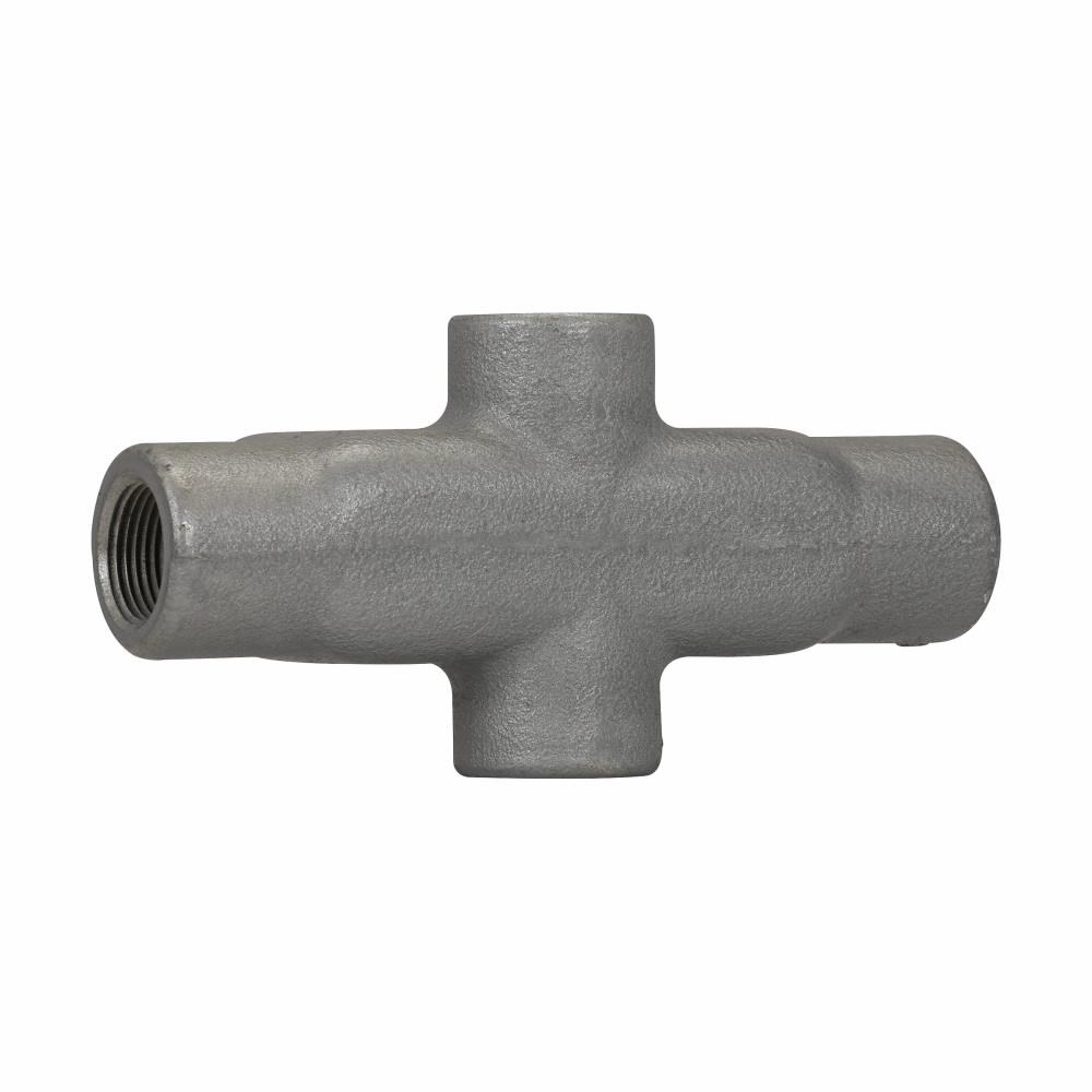 "Eaton Crouse-Hinds series Condulet Form 8 conduit outlet body, Feraloy iron alloy, X shape, 1"""