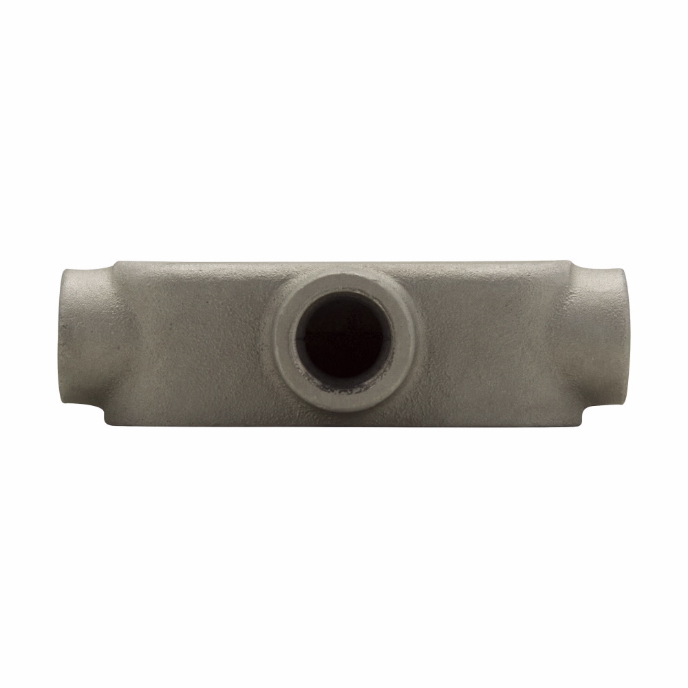 "Mayer-Eaton Crouse-Hinds series Condulet Mark 9 conduit outlet body, Copper-free aluminum, T shape, 1""-1"