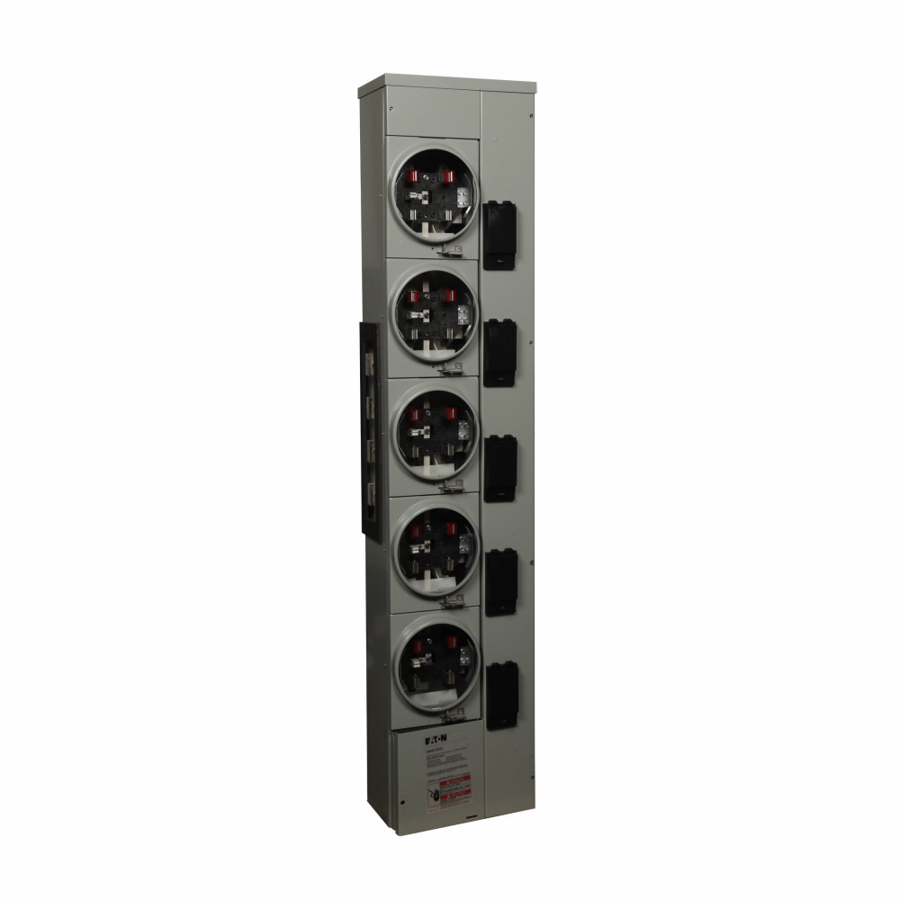Eaton Electrical 3MM512RRL 208 Star/120 VAC 125 Amp 3-Phase 4-Wire 5-Socket Aluminum Ringless Meter Stack Module