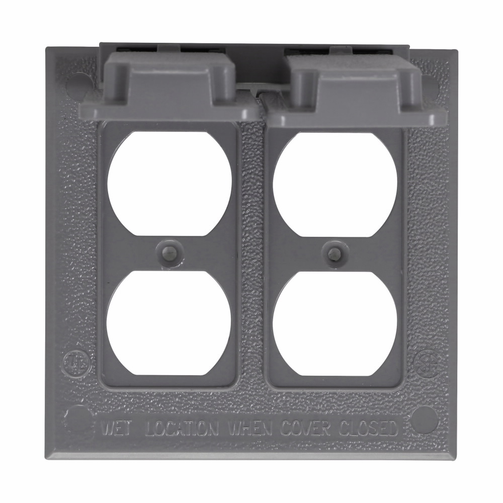 Crouse-Hinds Series TP7228 2-Gang 10/Box Gray Weatherproof Duplex Receptacle Cover