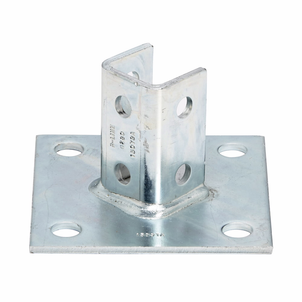 B-Line Series B280ZN 6 x 6 x 3-1/2 Inch Zinc Plated Channel Post Base