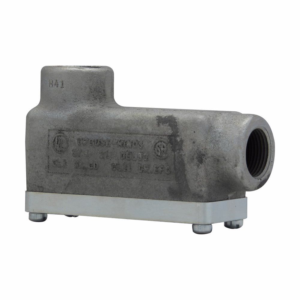 Eaton Crouse-Hinds series Condulet OE conduit outlet body with cover, Feraloy iron alloy, LB shape, 1/2""