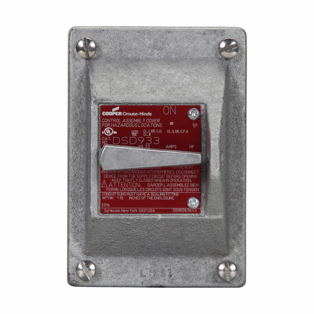 Crouse-Hinds Series DSD933 1-Pole 20 Amp 120/277 VAC Front Operated General Use Snap Switch