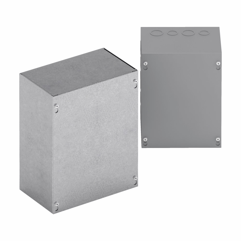 B-Line Series 10106SCGVNK 10 x 6 x 10 Inch 16 Gauge Gray Galvanized Steel NEMA 1 Screw Cover Enclosure