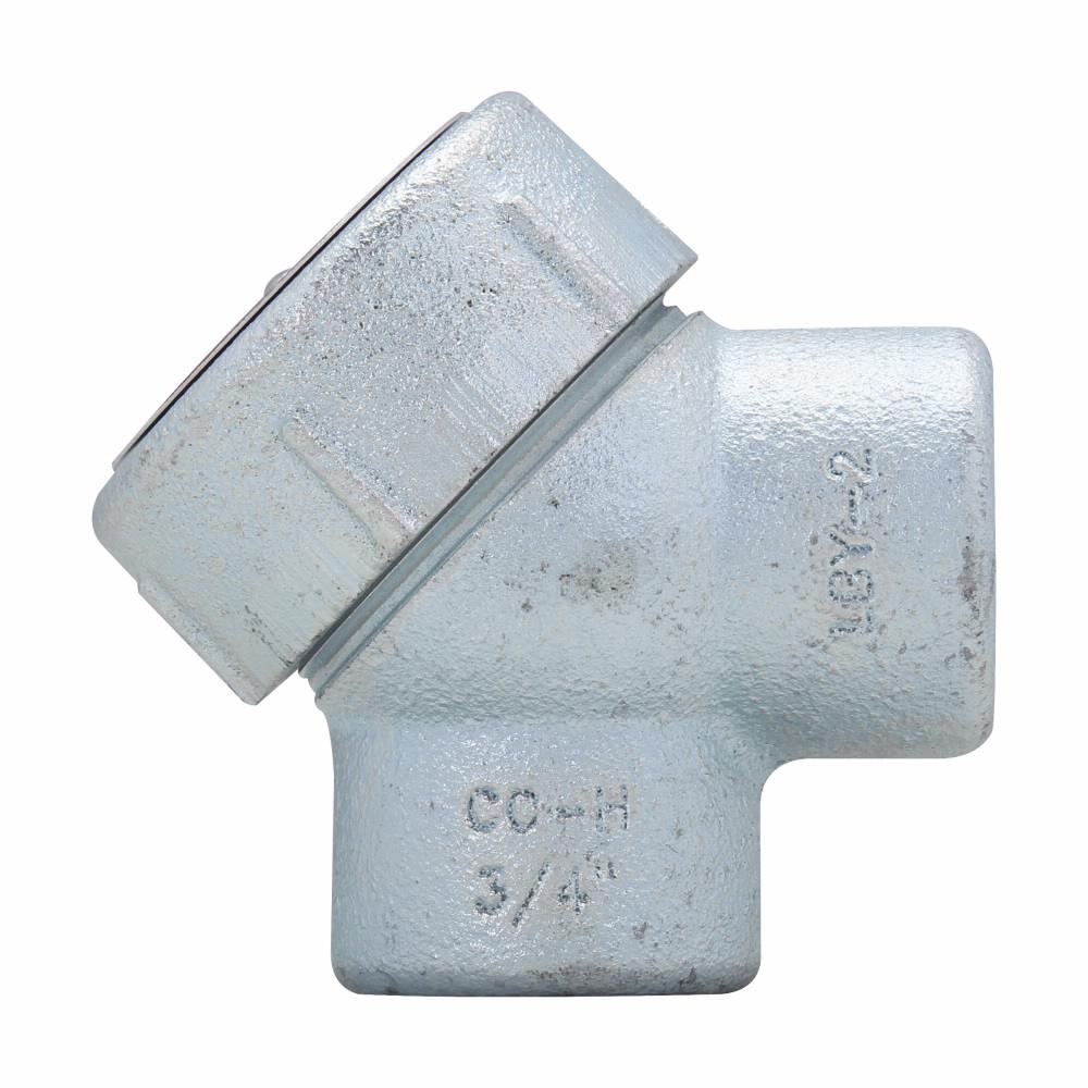 "Mayer-Eaton Crouse-Hinds series Condulet LBY service entrance elbow, Rigid/IMC, Feraloy iron alloy, 90°, 1/2""-1"