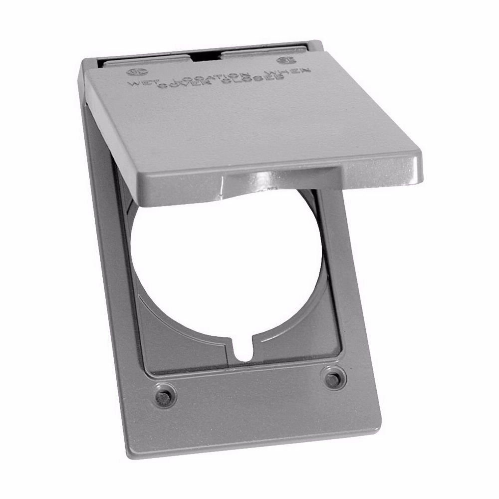 Crouse-Hinds TP7218 Gray Die-Cast Aluminum 1-Gang Self-Closing Weatherproof Outlet Box Cover with Gasket
