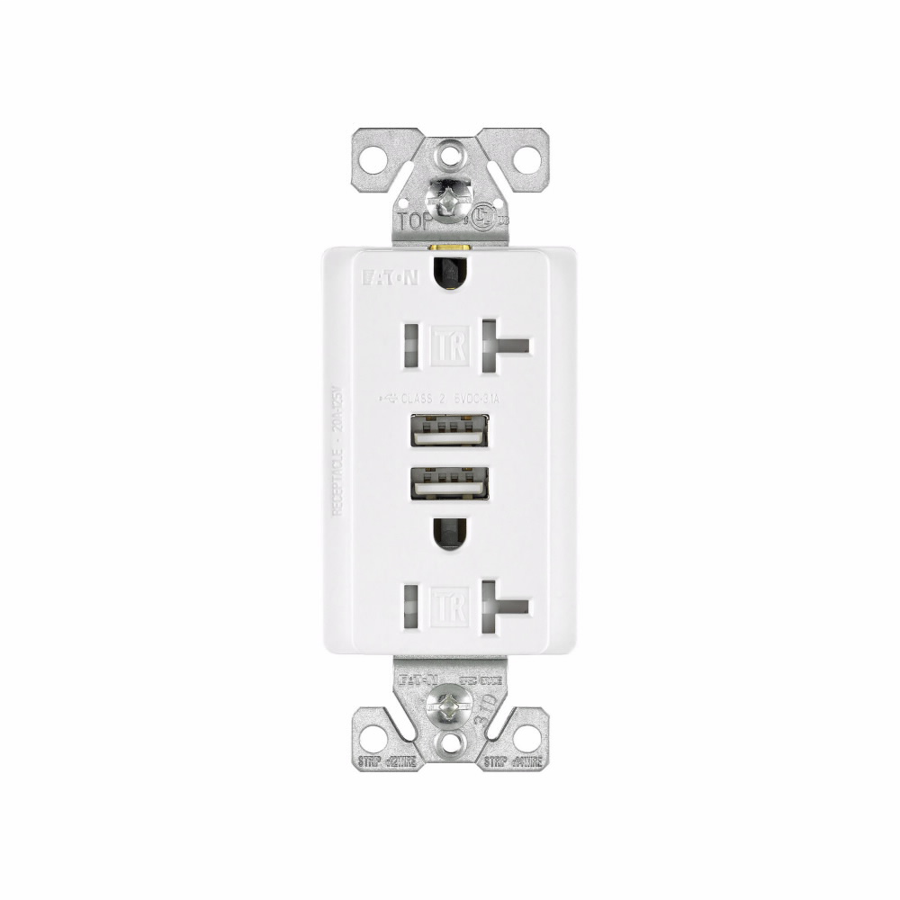 Eagle Electric TR7756W-BOX 20 Amp 125 VAC 2-Pole 3-Wire NEMA 5-20R White Combination USB Charger with Receptacle