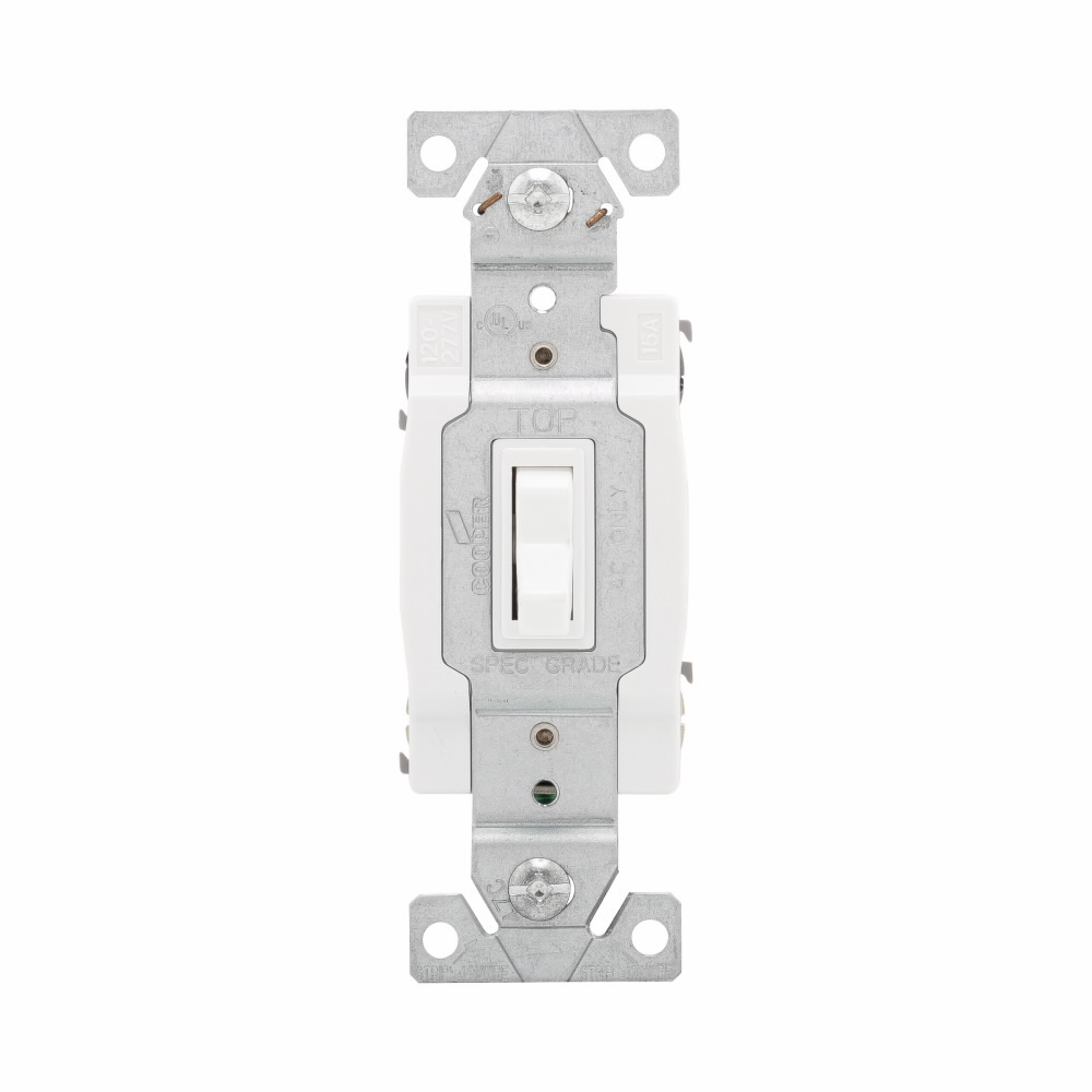COOPER WIRING DEVICES Eaton toggle switch, #14-10 AWG, 15A, Wall, 120V, Side and push, Grounding, White, Four-way, Polycarbonate
