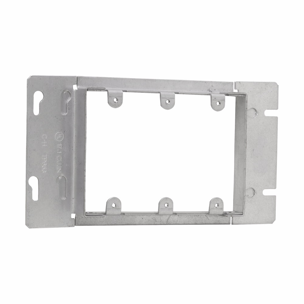 Crouse-Hinds Series TP653 8-13/16 Inch 13/16 Inch Raised Steel 3-Gang Box Cover