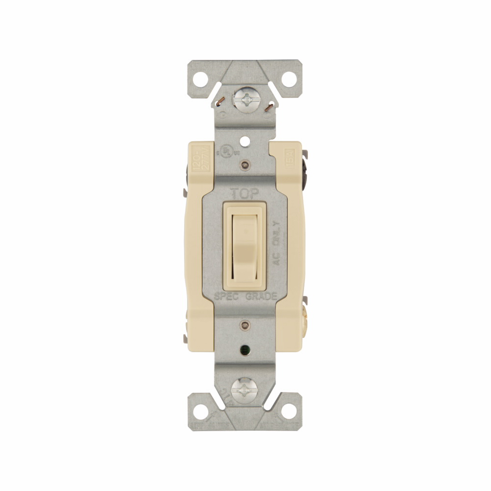 COOPER WIRING DEVICES Eaton toggle switch, #14-10 AWG, 15A, Wall, 120V, Side and push, Grounding, Ivory, Four-way, Polycarbonate