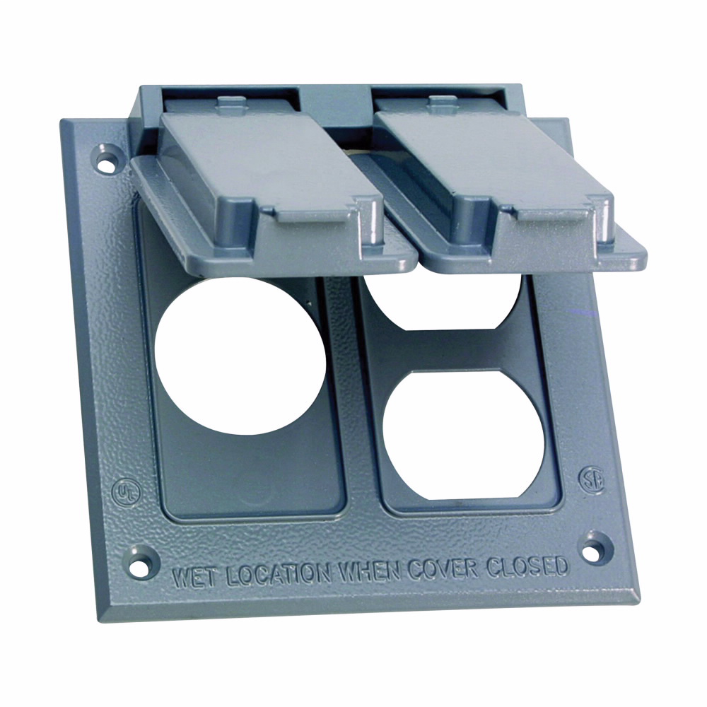 Crouse-Hinds Series TP7224 Gray Die-Cast Aluminum 2-Gang Self-Closing Weatherproof Outlet Box Cover with Gasket