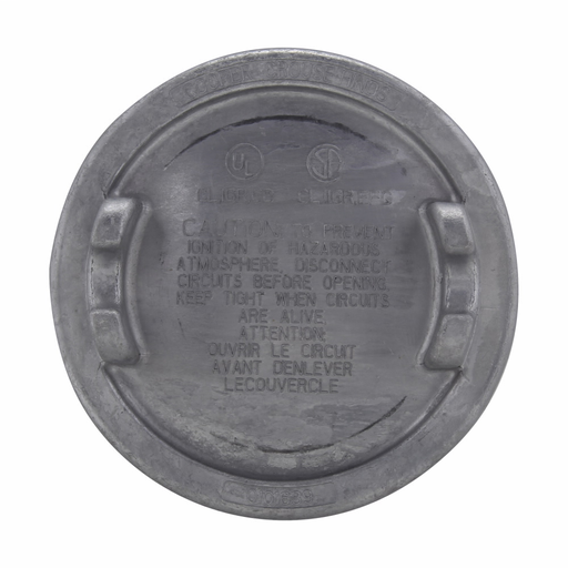 """Eaton Crouse-Hinds series Condulet GUA surface cover, 3"""" cover opening diameter, Copper-free aluminum, 12 thread pitch"""