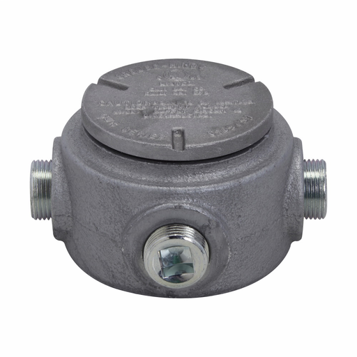 """Mayer-Eaton Crouse-Hinds series Condulet GUR conduit outlet box with cover, Feraloy iron alloy, 3/4""""-1"""