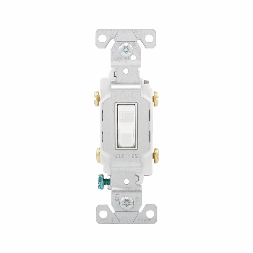 Mayer-Eaton commercial grade toggle switch, #14-10 AWG, 20A, Commercial, Flush, 120/277V, Side wire, Screw, White, Load type: Motor Control, Fan, LED, Incandescent, ELV, MLV, CFL, Flourescent, Halogen, Double-Pole, Dual-pole, Brass, PVC-1