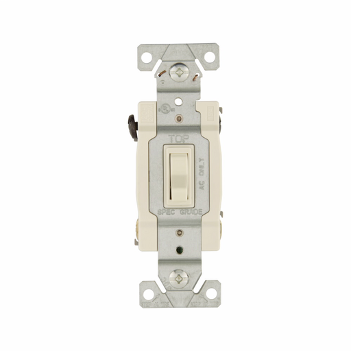 Mayer-Eaton toggle switch, #14-10 AWG, 15A, Residential, Wall, 120V, Side and push, Grounding, Light almond, Four-way, Polycarbonate-1