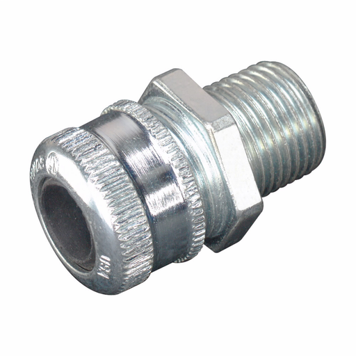 """Eaton Crouse-Hinds series CGB cable gland, Cable range min/max: 0.250-0.375"""", Non-armoured and tray cable, Non-armoured, Steel, General purpose, 3/8"""" NPT"""