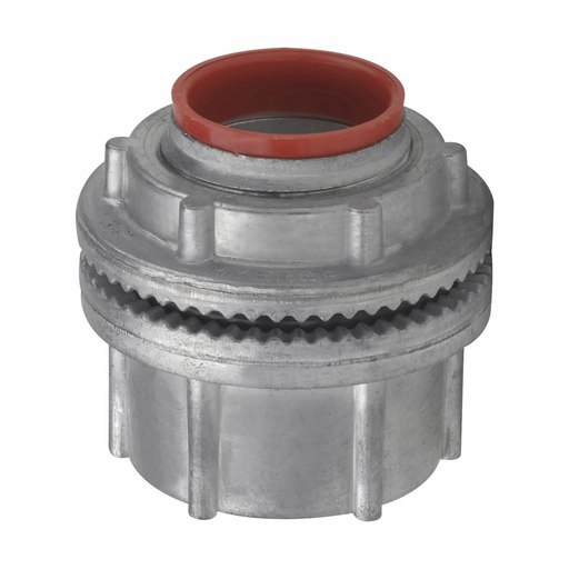 "Mayer-Eaton Crouse-Hinds series Myers Scru-Tite basic hub, Zinc, 1/2""-1"
