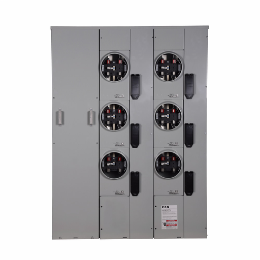 Eaton meter pack, Socket amperage: 200 A, Amperage rating: 200 A, Aluminum, Bus rating: 600A , No bypass, Indoor/outdoor, Up to 100 KAIC, 6 Sockets, Five-jaw, Single-phase in/single-phase out, Ringless, 120/240 Vac