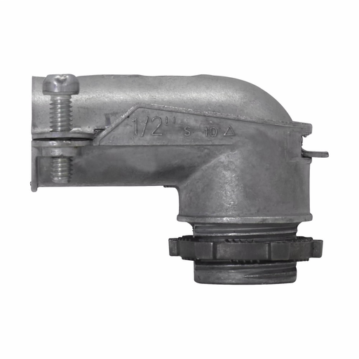 Eaton Crouse-Hinds series squeeze type connector, FMC, 90° angle, Non-insulated, Zinc die cast, 1""