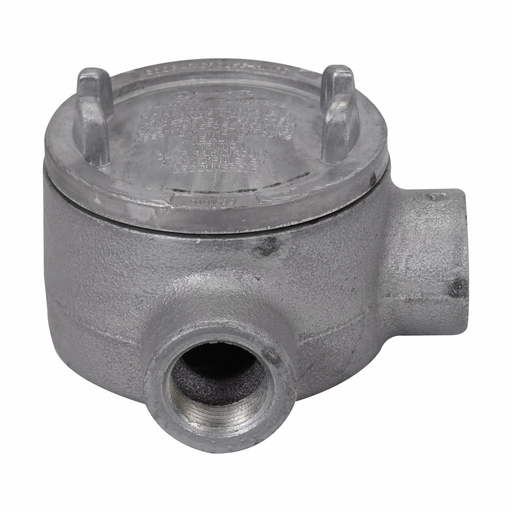 """Mayer-Eaton Crouse-Hinds series Condulet GUA conduit outlet box with cover, 3"""" cover opening diameter, Feraloy iron alloy, L shape, 3/4""""-1"""