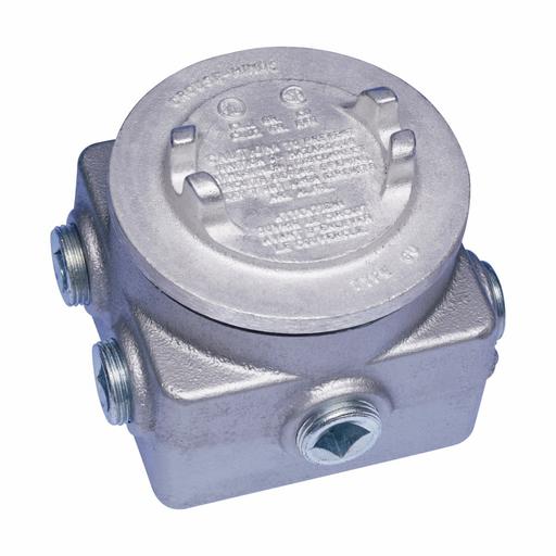 "Mayer-Eaton Crouse-Hinds series GUP junction box, (4) 1"" back hub, (2) 3/4"" bottom hub, Feraloy iron alloy, (1) 3/4"" side hub, (2) 3/4"" top hub-1"