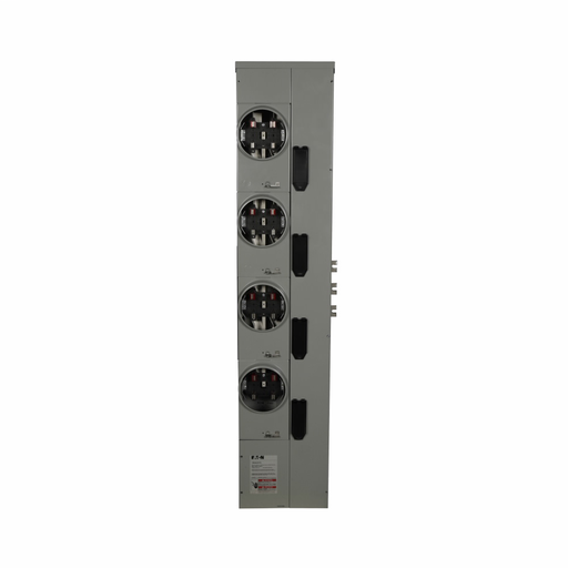 Eaton residential meter stack, Amperage rating: 200A, Bus rating: 800A, Outdoor, Interrupt rating depends on selected main circuit breaker, Single-phase in/single-phase out, 4 Sockets, Aluminum, Ringless, 120/240 Vac, 4-jaw