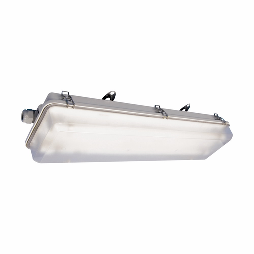 Mayer-Eaton Crouse-Hinds series Pauluhn Intrepid FPS linear fluorescent light fixture, One non-metallic cable gland and one end plugged,2 ft,Matte polycarbonate lens,T8 bi-pin,Fiberglass-reinforced polyester,2-lamp,Through feed,120-277 Vac,17W-1