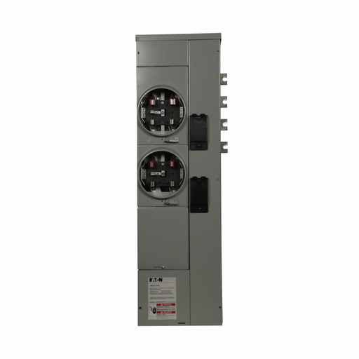 Eaton's Three-Phase Residential Meter Stack Module, Group Metering Type, 125A, Aluminum Bus 800 Ampere, No bypass, Indoor/outdoor, Five-jaws, 2 Sockets, Three-phase in, single-phase out, Ringless Security, 120/208V