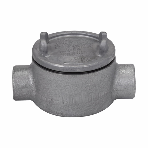 """Mayer-Eaton Crouse-Hinds series Condulet GUA conduit outlet box with cover, 3"""" cover opening diameter, Feraloy iron alloy, C shape, 3/4""""-1"""