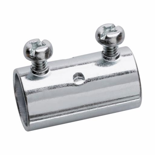 "Eaton Crouse-Hinds series EMT set screw type coupling, EMT, Zinc plated steel, Four tightening screws, 1-1/4"" (CRO 463 1-1/4 STL SET SCREW EMT)"