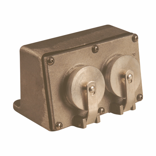 Mayer-Eaton Crouse-Hinds series Pauluhn 25 receptacle, 15A/20A, Brass, Surface, 5-15/20R, One receptacle, 125 Vac-1