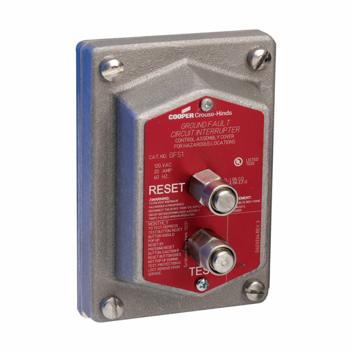 Eaton Crouse-Hinds series GFS ground fault circuit interrupter, 20A, 5 mA, Copper-free aluminum, Factory sealed, 125 Vac