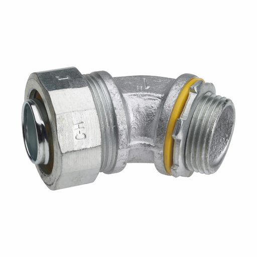 Eaton Crouse-Hinds series Liquidator liquidtight connector, FMC, 45° angle, Non-insulated, Malleable iron, 1-1/4""