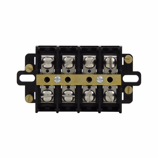 Eaton Bussmann KU series panel mount terminal block connector, Shorting strap and four shorting screws, Includes top cover and two end plates, 600V, 60A, Double row, Eight-pole, #10-32 TPI Screw, Panel, Nickel-plated brass terminal