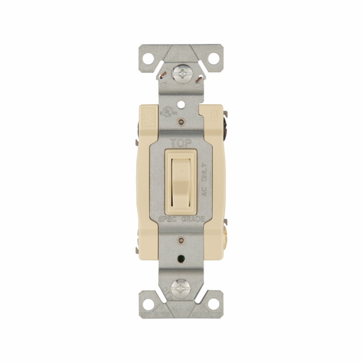 Mayer-Eaton toggle switch, #14-10 AWG, 15A, Wall, 120V, Side and push, Grounding, Ivory, Four-way, Polycarbonate-1