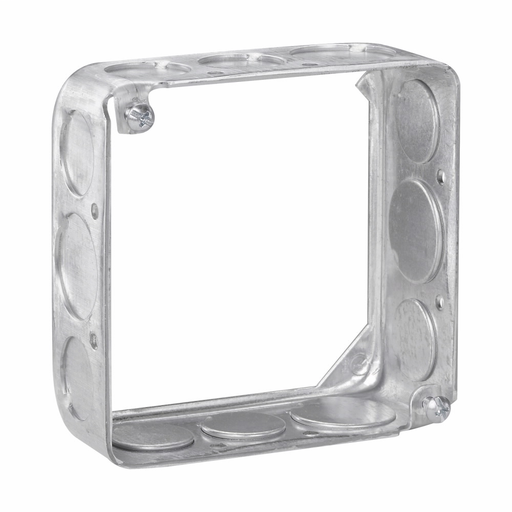 """Eaton Crouse-Hinds series Square Extension Ring, 4"""", Drawn, 1-1/2"""", Steel, (8) 1/2"""", (4) 3/4"""", 21.0 cubic inch capacity (CRO TP428 1-1/2"""" 4"""" SQ W/1/2&3/4)"""