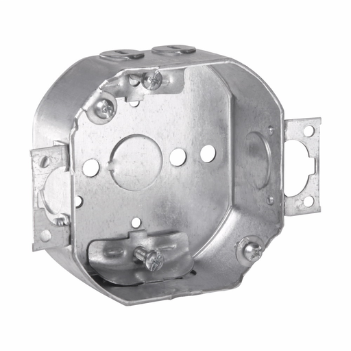 "Eaton Crouse-Hinds series Octagon Outlet Box, (1) 1/2"", 4"", 4, NM clamps, 1-1/2"", Steel, (2) 1/2"", Two screw ears, fixture rated, 15.5 cubic inch capacity"