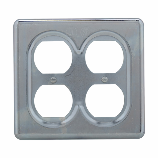 Mayer-Eaton Crouse-Hinds series S Series duplex receptacle cover, Sheet steel, Surface mount, Two-gang, For duplex convenience receptacles, standard and two-wire, three-pole grounding-1