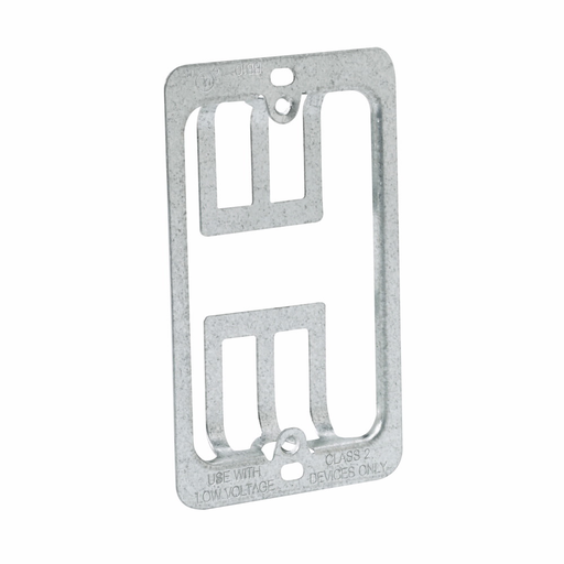 """Mayer-Eaton B-Line series datacomm and low voltage support fasteners, Single gang bracket, Grey, Pre-galvanized, Design load capacity 0.05KN, Steel, Bracket mount, Maximum 1-1/4"""" drywall thickness, Cover plate mounting bracket style-1"""