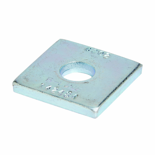 """Mayer-Eaton B-Line series strut fittings and accessories, 1.62"""" Height, 1.62"""" Length, 1.62"""" Width, .17lbs, Steel, Square washer, Hole size 9/16 in diameter 