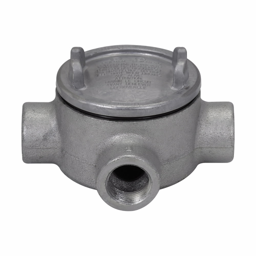 """Mayer-Eaton Crouse-Hinds series Condulet GUA conduit outlet box with cover, 3-5/8"""" cover opening diameter, Feraloy iron alloy, T shape, 1-1/4""""-1"""