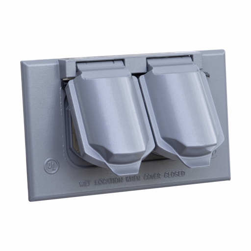 Eaton Crouse-Hinds series weatherproof self-closing cover, Natural, Die cast aluminum, Single-gang, Duplex receptacle or combination switch