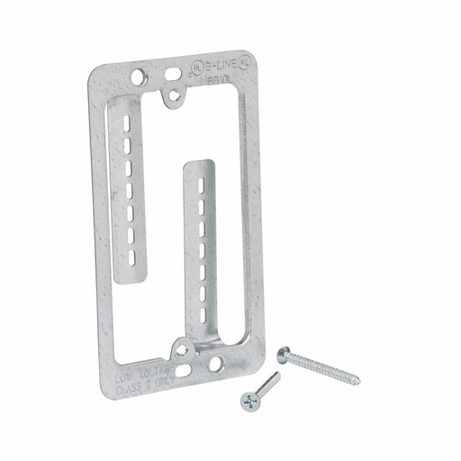 """Mayer-Eaton B-Line series datacomm and low voltage support fasteners, Single gang bracket, Grey,Pre-galvanized,Design load capacity 0.05KN, Steel, Communication and low voltage, Maximum 1-1/4"""" drywall thickness, Cover plate mounting bracket style-1"""