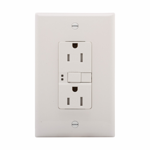 Mayer-Eaton ground fault circuit interrupter receptacle, 15A, 125V, Back wire and side wire, GFCI, White, Brass, Receptacle, Tamper resistant, PVC, 5-15R, Two-pole, three-wire, grounding-1