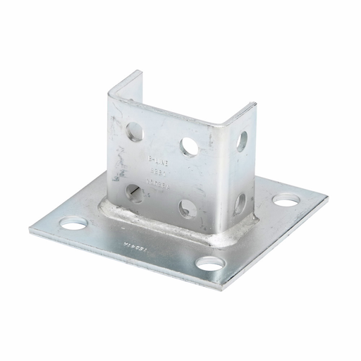 """Mayer-Eaton B-Line series strut fittings and accessories, 3.5"""" Height, 6"""" Length, 6"""" Width, 4.00lbs, Steel, Square post base, centered, Post base for B22A, B, C, Electro-plated-1"""