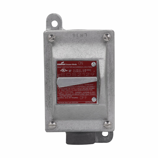 """Mayer-Eaton Crouse-Hinds series EDS snap switch control station, 20A, With switch, With one 3/4"""" hub, Feraloy iron alloy, 1, Single-gang, Single-pole, 120-277V, Factory sealed, Dead end, Single-pole, 3/4"""", 120-277 Vac-1"""