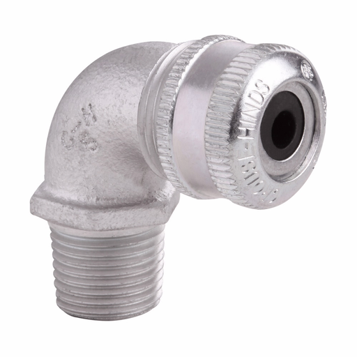 """Mayer-Eaton Crouse-Hinds series CGE cable gland, Cable range min/max: 0.250-0.375"""", Non-armoured and tray cable, 90° angle, Non-armoured gland, Feraloy iron alloy, General purpose, 1/2"""" NPT-1"""