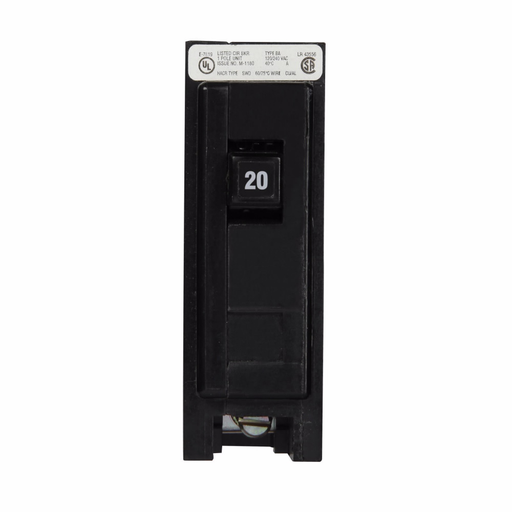 Mayer-Eaton BAB thermal magnetic circuit breaker,Quicklag industrial thermal-magnetic circuit breaker,Bolt-on mounting, High intensity discharge,20 A,10 kAIC,Single-pole,120/240 V,Non-Interchangeable,Q7,BAB-1