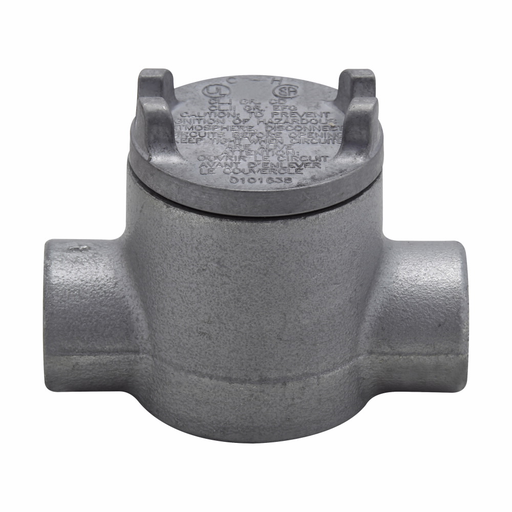 """Mayer-Eaton Crouse-Hinds series Condulet GUA conduit outlet box with cover, 2"""" cover opening diameter, Feraloy iron alloy, C shape, 3/4""""-1"""