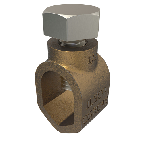 ILSCO CGRC-48 10 to 2 AWG 1/2 Inch Stainless Steel Hardware Cast Bronze Ground Rod Clamp